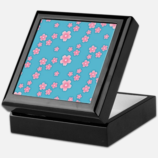 Cherry Blossoms Blue Pattern Keepsake Box
