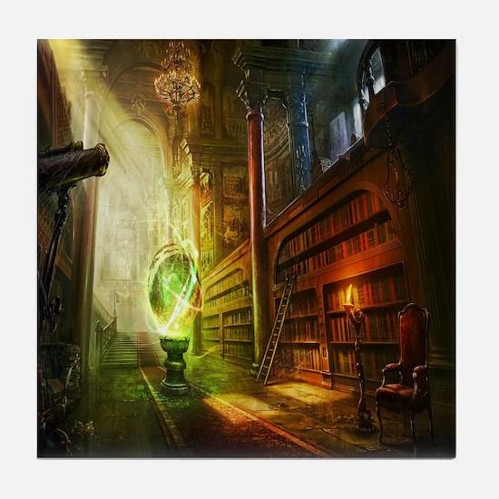 Mystical Library Tile Coaster