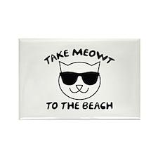 Take Meowt To The Beach Rectangle Magnet