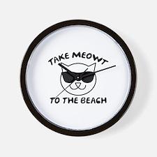 Take Meowt To The Beach Wall Clock