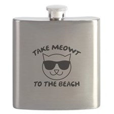 Take Meowt To The Beach Flask