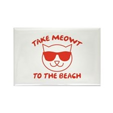 Take Meowt To The Beach Rectangle Magnet