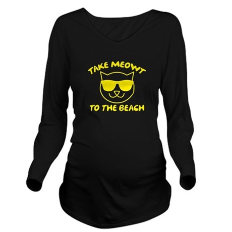 Take Meowt To The Beach Long Sleeve Maternity T-Sh