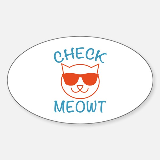 Check Meowti Sticker (Oval)