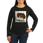 Bourbon Red Tom Turkey Women's Long Sleeve Dark T-