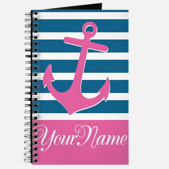 Anchor Elegant Stripe Personalized Journal