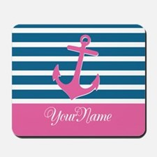 Anchor Elegant Stripe Personalized Mousepad