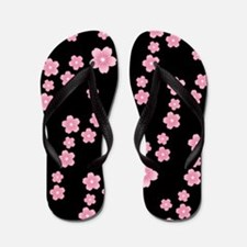 Cherry Blossoms Black Pattern Flip Flops