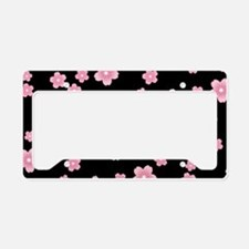 Cherry Blossoms Black Pattern License Plate Holder