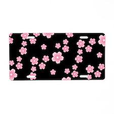 Cherry Blossoms Black Pattern Aluminum License Pla