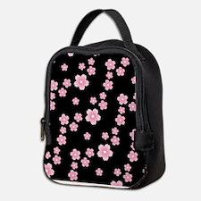 Cherry Blossoms Black Pattern Neoprene Lunch Bag