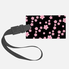 Cherry Blossoms Black Pattern Luggage Tag