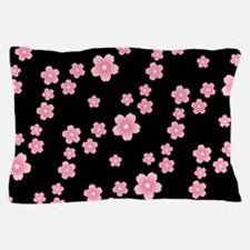 Cherry Blossoms Black Pattern Pillow Case