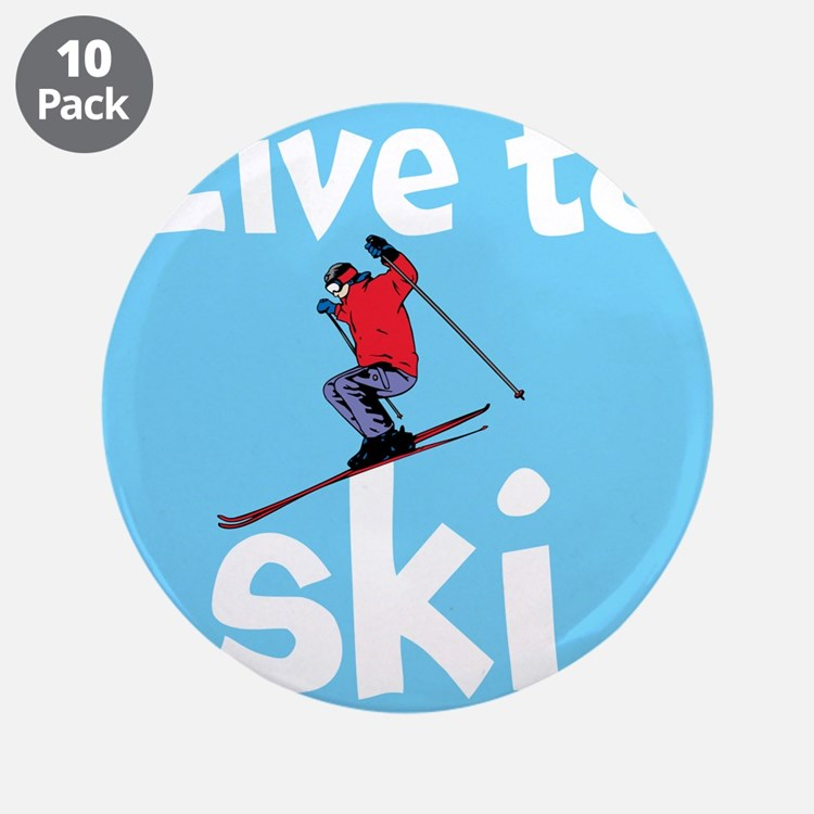 "LIVE TO SKI 3.5"" Button (10 pack)"