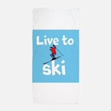 LIVE TO SKI Beach Towel