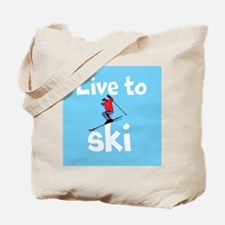 LIVE TO SKI Tote Bag