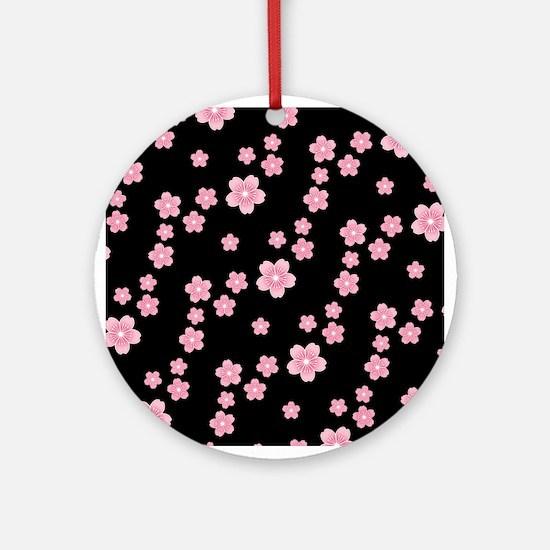Cherry Blossoms Black Pattern Ornament (Round)