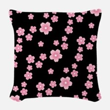 Cherry Blossoms Black Pattern Woven Throw Pillow