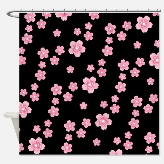 Cherry Blossoms Black Pattern Shower Curtain