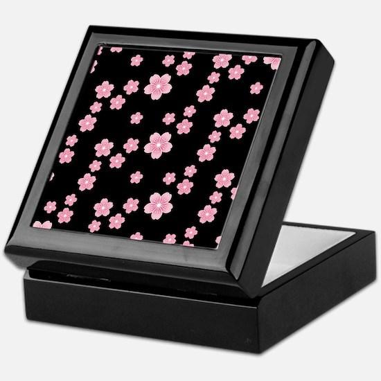 Cherry Blossoms Black Pattern Keepsake Box