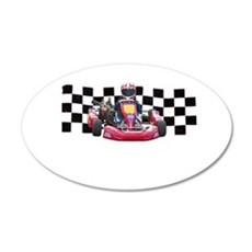 Kart Racer with Checkered Flag Wall Decal
