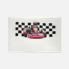 Kart Racer with Checkered Flag Magnets