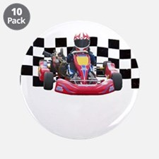 """Kart Racer with Checkered Flag 3.5"""" Button (10 pac"""