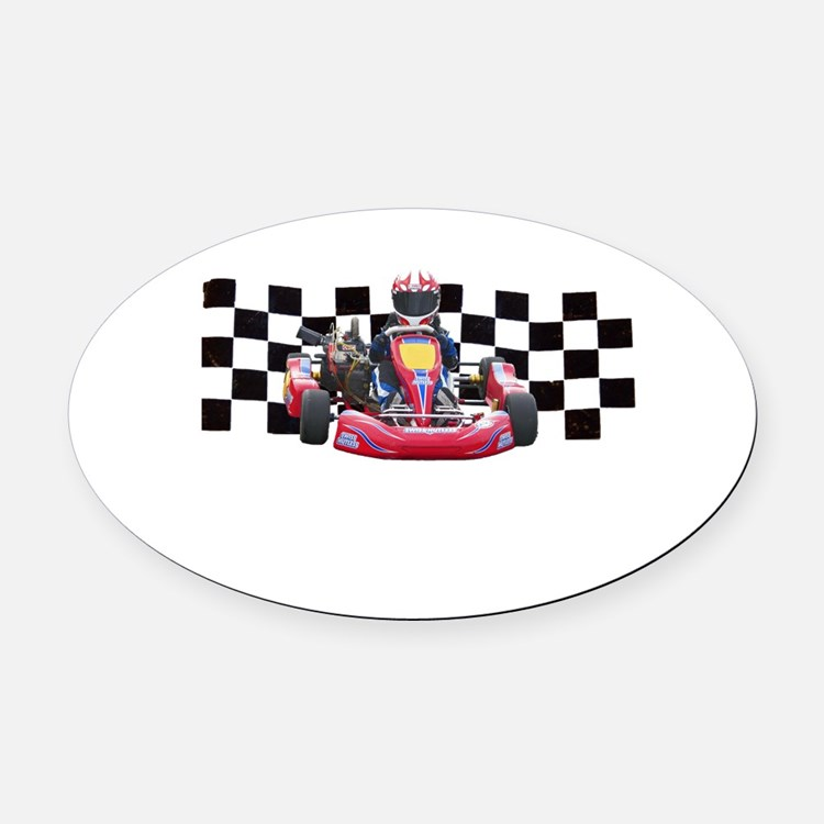 Kart Racer with Checkered Flag Oval Car Magnet