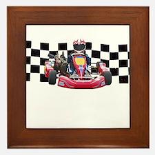 Kart Racer with Checkered Flag Framed Tile