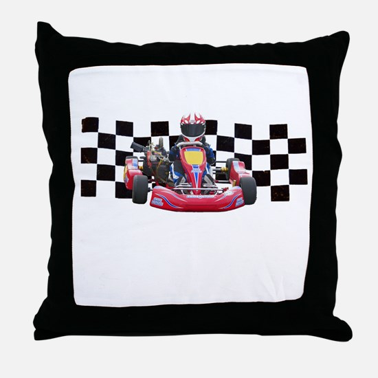 Kart Racer with Checkered Flag Throw Pillow