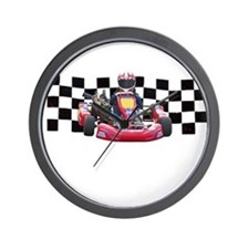 Kart Racer with Checkered Flag Wall Clock