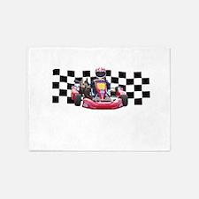 Kart Racer with Checkered Flag 5'x7'Area Rug