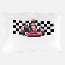Kart Racer with Checkered Flag Pillow Case
