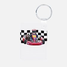 Kart Racer with Checkered Flag Keychains