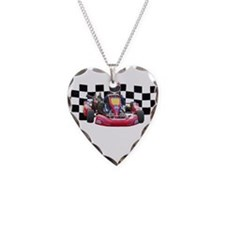 Kart Racer with Checkered Flag Necklace