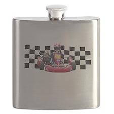 Kart Racer with Checkered Flag Flask