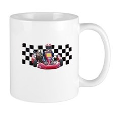 Kart Racer with Checkered Flag Mugs
