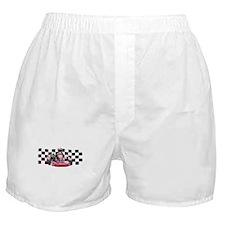 Kart Racer with Checkered Flag Boxer Shorts