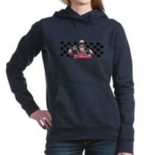 Kart Racer with Checkered Flag Hooded Sweatshirt