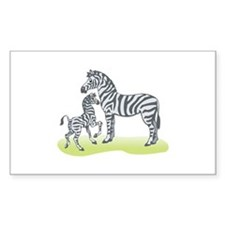 Mommy and Baby Zebra Rectangle Decal