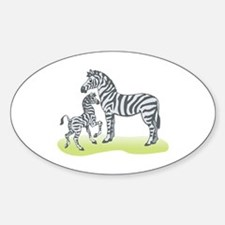 Mommy and Baby Zebra Oval Decal