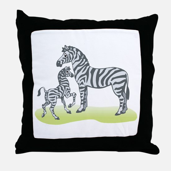 Mommy and Baby Zebra Throw Pillow