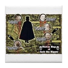 Jack the Ripper Victim Map Original Tile Coaster