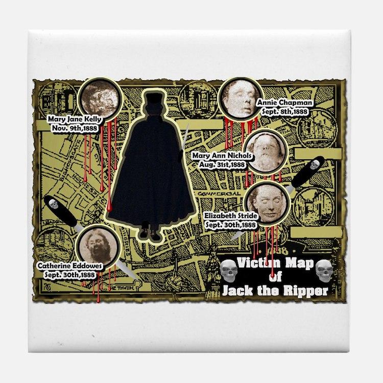 Jack the Ripper Victim Map Original Tile Coaster