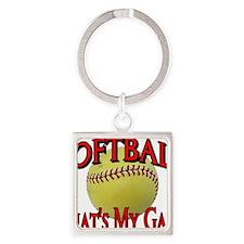 Softball That's My Game Square Keychain
