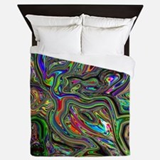 Psychedelic colors melt  Queen Duvet