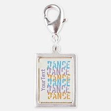 DANCE Optional Text Silver Portrait Charm