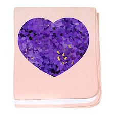 Purple Confetti Hearts baby blanket