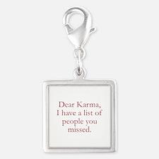 Dear Karma Silver Square Charm