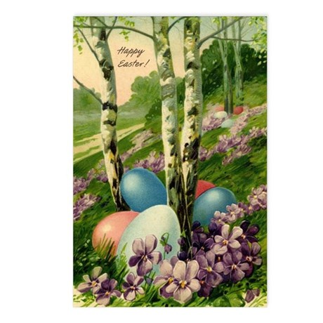 Happy Easter! with trees and Easter eggs Postcards